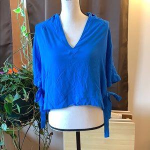 TopShop Blue Side Tie V Neck Crop Top Size 8